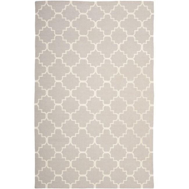 Safavieh Hand-woven Moroccan Reversible Dhurrie Grey/ Ivory Wool Rug (9' x 12')