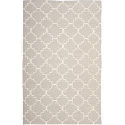 Safavieh Hand-woven Moroccan Reversible Dhurrie Grey/ Ivory Wool Rug (6' x 9')