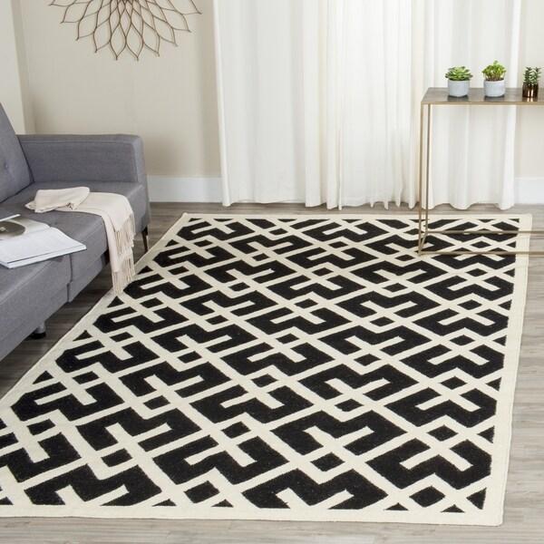 Safavieh Moroccan Reversible Dhurrie Black/Ivory Indoor Wool Rug (8' x 10')
