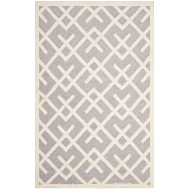 Safavieh Handwoven Moroccan Reversible Dhurrie Geometric-pattern Grey/ Ivory Wool Rug (10' x 14')