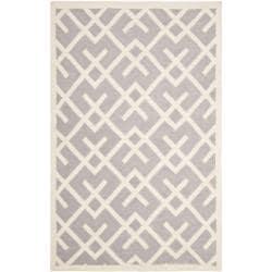 Safavieh Handwoven Moroccan Dhurrie Geometric-pattern Gray/ Ivory Wool Rug (10' x 14')