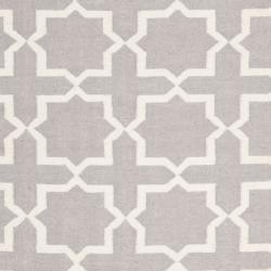 Safavieh Moroccan Reversible Dhurrie Grey/Ivory Cross Pattern Wool Rug (9' x 12')