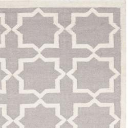 Moroccan Dhurrie Grey/Ivory Cross Pattern Wool Rug (9' x 12')