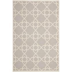 Safavieh Moroccan Reversible Dhurrie Grey/Ivory Geometric Pattern Wool Rug (9' x 12')