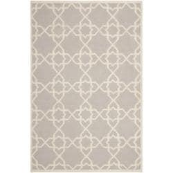 Moroccan Dhurrie Grey/Ivory Geometric Pattern Wool Rug (9' x 12')