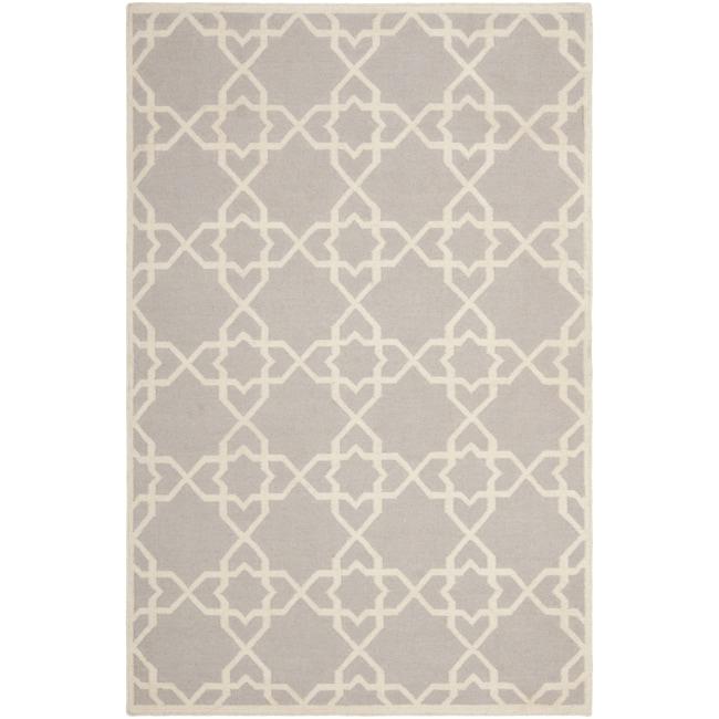 Safavieh Transitional Safavieh Handwoven Moroccan Reversible Dhurrie Grey/ Ivory Wool Rug (5' x 8')