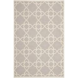 Transitional Moroccan Dhurrie Gray/Ivory Wool Rug (4' x 6')