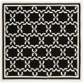 Moroccan Dhurrie Black/Ivory Cross-Pattern Wool Rug (8' Square)