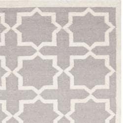 Safavieh Handwoven Moroccan-inspired Reversible Dhurrie Grey/ Ivory Wool Rug (8' x 10')