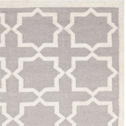Safavieh Handwoven Moroccan Dhurrie Transitional Gray/ Ivory Wool Rug (10' x 14')