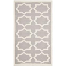 Safavieh Handwoven Moroccan Dhurrie Transitional Gray/ Ivory Wool Rug (3' x 5')