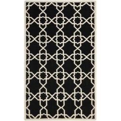 Moroccan Dhurrie Geometric Black/Ivory Wool Rug (9' x 12')