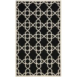 Moroccan Dhurrie Transitional Black/Ivory Wool Rug (10' x 14')