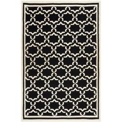 Handwoven Moroccan Dhurrie Black/Ivory Wool Rug (9' x 12')