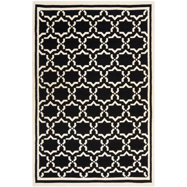 Safavieh Moroccan Reversible Dhurrie Black/Ivory Casual Indoor Wool Rug (8' x 10')