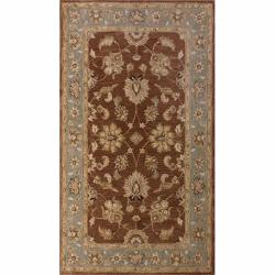 Handspun Decorative Persian Brown New Zealand Wool Area Rug (5' x 8')