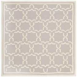 Safavieh Moroccan Handwoven Reversible Dhurrie Grey/Ivory Wool Rug (6' Square)