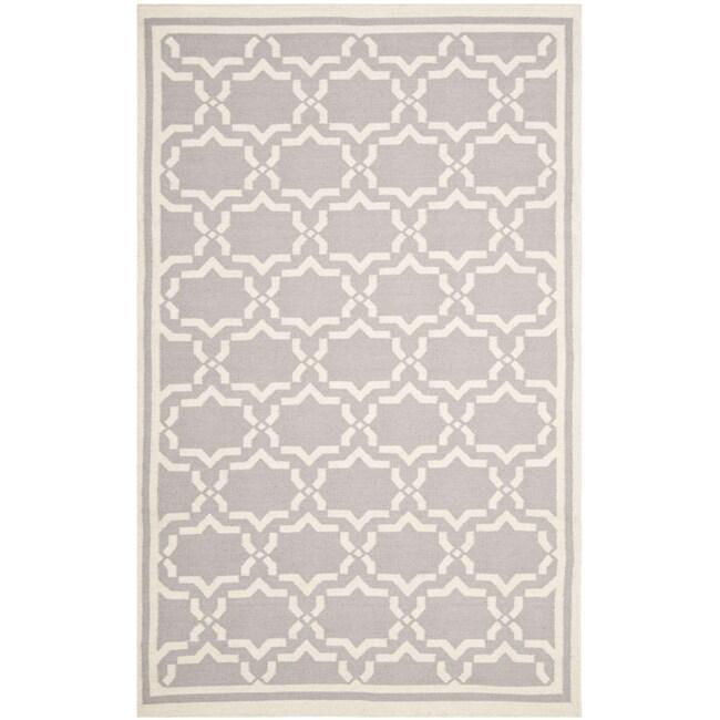 Safavieh Moroccan Reversible Dhurrie Geometric Grey/Ivory Wool Rug (6' x 9')