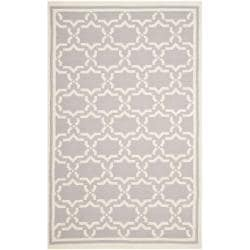 Moroccan Dhurrie Gray/Ivory Pure Wool Rug (4' x 6')