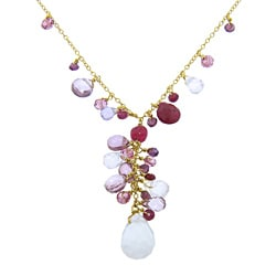 Eternally Haute Handmade 18k Yellow Gold over Sterling Silver Multi-Gemstone Necklace