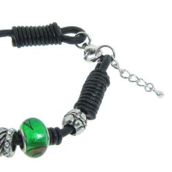 Eternally Haute Silver-plated and Leather Green Glass Charms Bracelet