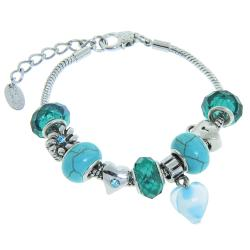 Eternally Haute Silver-plated Metal/Turquoise Gemstone Charm Bracelet