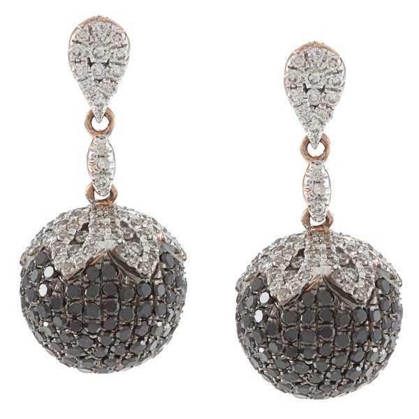 14k Two-tone Gold 2 1/2ct TDW Black and White Diamond Berry Earrings (HI, SI1)