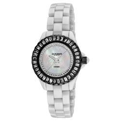 Akribos XXIV Women's White-Dial Quartz Baguette Ceramic Bracelet Watch