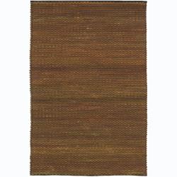 Hand-woven Diya Abstract Brown Wool Rug (5' x 7'6)