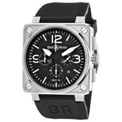 Bell & Ross Men's 'Aviation' Black Dial Rubber Strap Chronograph Watch