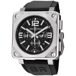 Bell & Ross Men's 'Aviation' Black Dial Titanium Chronograph Watch