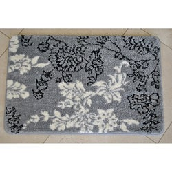 Memory Foam Grey/ White Floral 20 x 32 Bath Rug