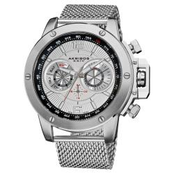 Akribos XXIV Men's Mesh-Bracelet Multifunction Watch with Silver Dial