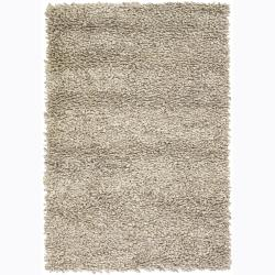 Hand-Woven Azzuroh New Zealand Wool Shag Rug in Ivory (5' x 7'6)