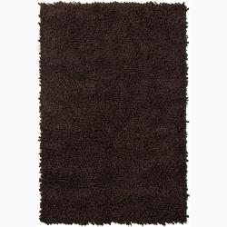 Hand-Woven Azzuroh New Zealand Wool Shag Rug in Brown (5' x 7'6)