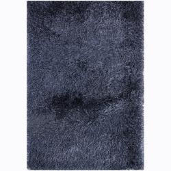 Hand-woven Polan Blue Shag Rug (9' x 13')