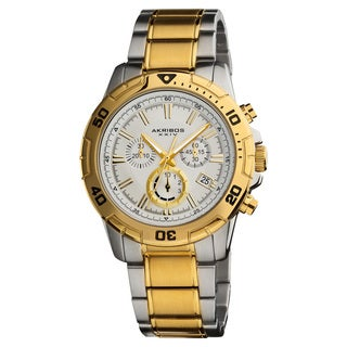 Gold-and-Silver Akribos XXIV Men's Stainless-Steel Swiss Quartz Chronograph Divers Watch