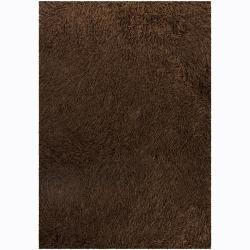 Hand-woven Polan Brown Shag Rug (9' x 13')