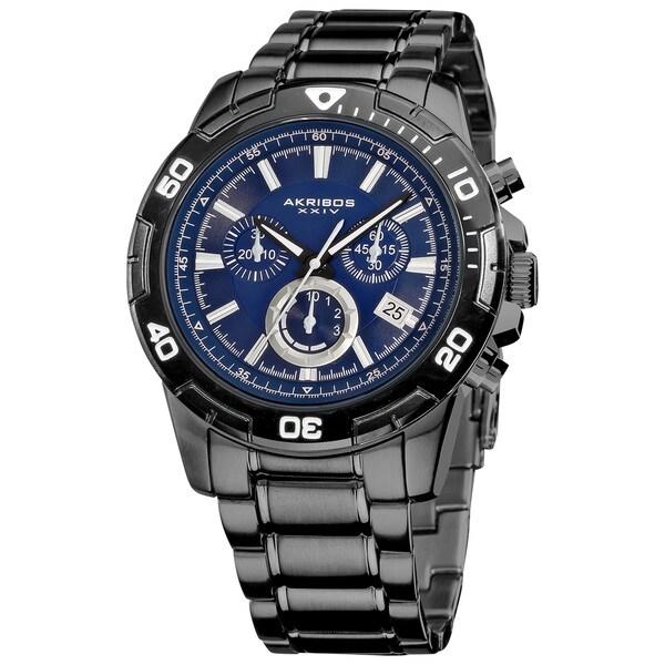 Akribos XXIV Men's Stainless Steel Swiss Quartz Chronograph Divers Watch