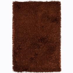 Hand-woven Polan Orange Shag Rug (9' x 13')