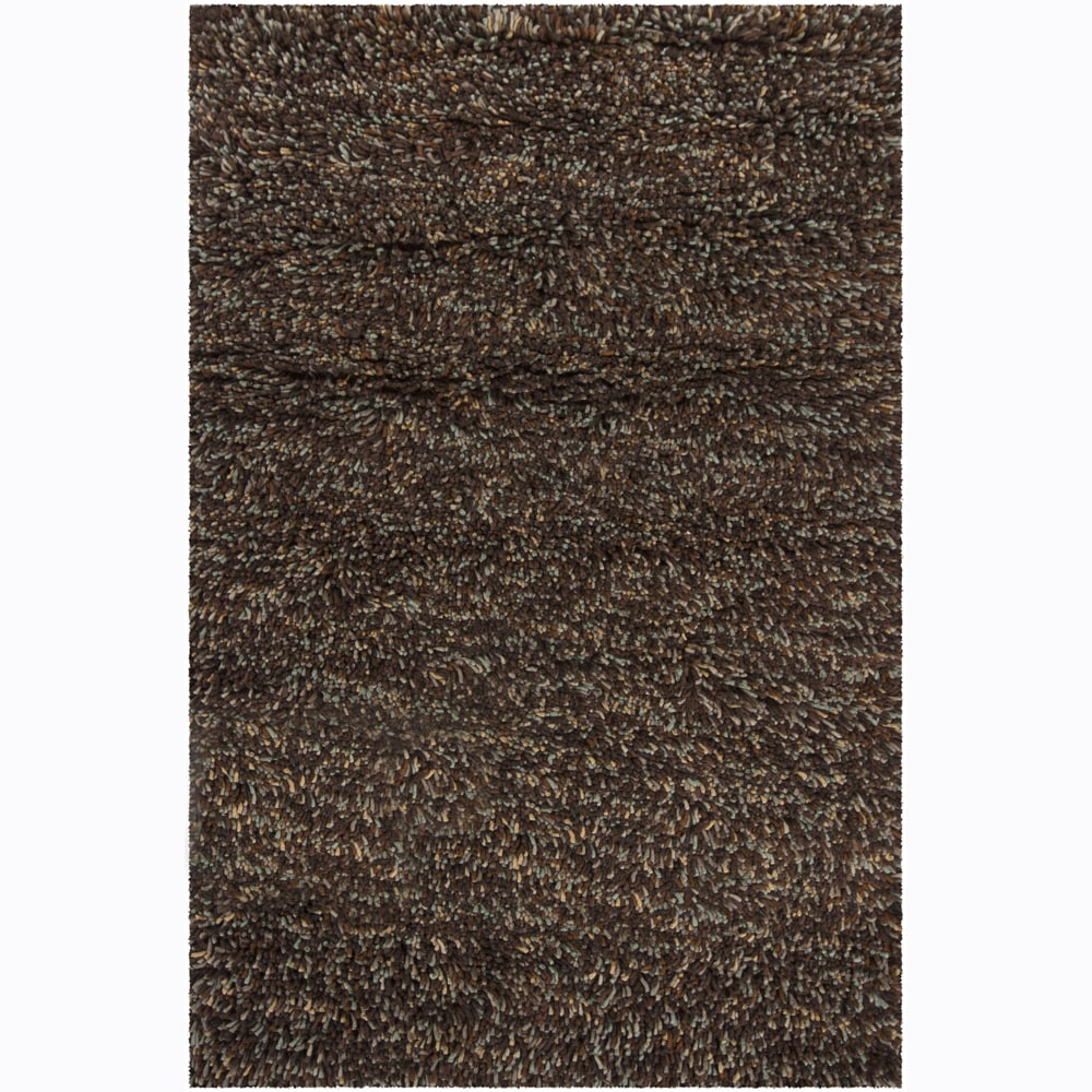 Hand-Woven Poras New Zealand Wool Brown Shag Rug (2'6 x 7'6)