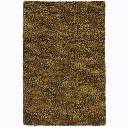 Handwoven Poras New Zealand Wool Brown Shag Rug (5' x 7'6