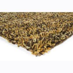 "Handwoven Poras New Zealand Wool Brown Shag Rug (5' x 7'6"")"