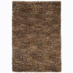 Brown Handwoven Poras New Zealand Wool Shag Rug (9' x 13')