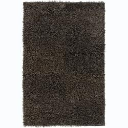 Hand-woven Alexa Beige/ Black Shag Rug (2' x 3')