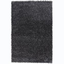 Hand-woven Alexa Grey-Black Shag Rug (9' x 13')