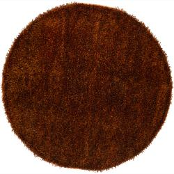 Hand-woven Alexa Orange/ Black Shag Rug (7'9 Round)
