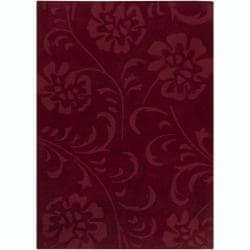 Hand-tufted Asten Red Floral Wool Rug (6' x 9')