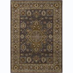 Hand-tufted Bajrang Oriental Grey Wool Rug (7' x 10')