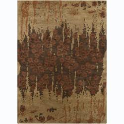 Hand-tufted Bajrang Floral Brown Wool Rug (9' x 13')